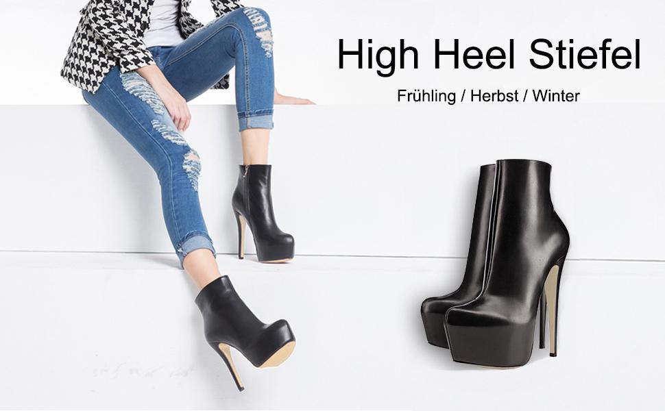 Winter High Reißverschluss Frauen Frühling Dekoration Stiefel Stiefeletten Eks Nieten Extreme Heel kuPXZOi