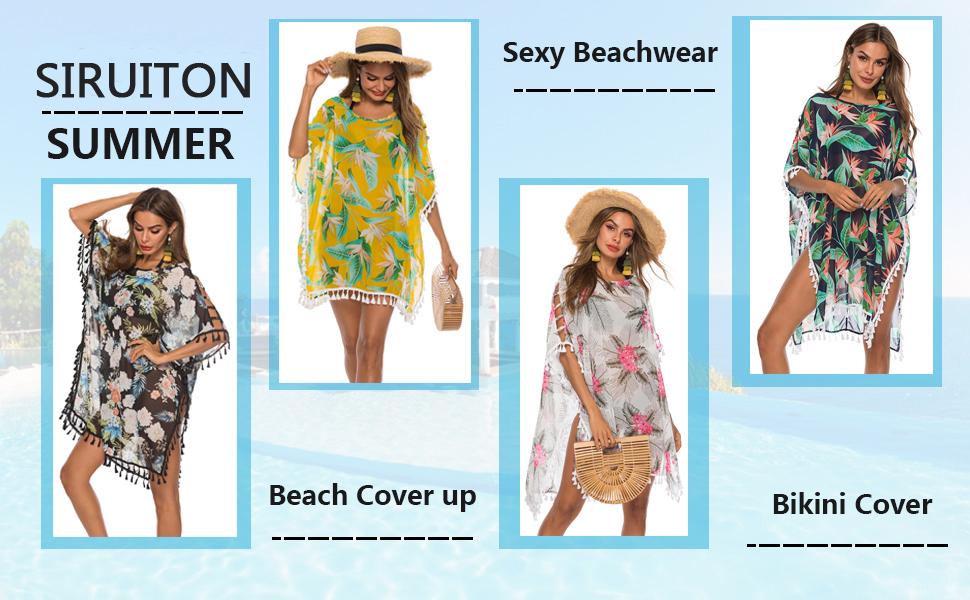 SIRUITON Strandponcho Damen Bikini Cover Up Blumen Strandkleid kurz Sommerkleid Casual Strandtunika Quasten