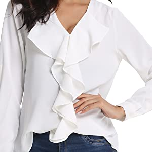 Damen Sommer Bluse Langarmshirt Hemd Blusen Arbeit Aufrollen Shirts Business Top