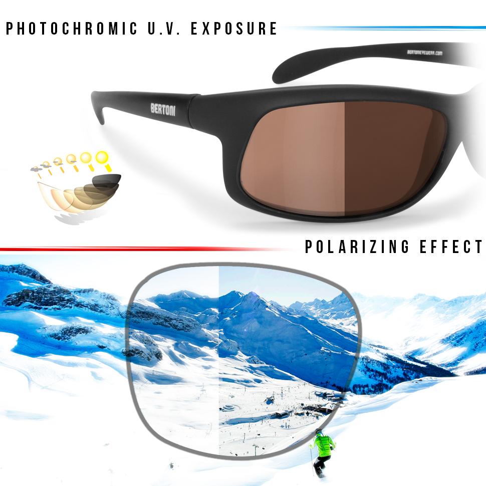 BERTONI Polarisierten Photochrome Sonnenbrille für Skifahren - Laufen - Driving - Fish by Italy - P545FT Selbsttönend (Photochrome Polarisierte Grau) HeV7Qh0nM1