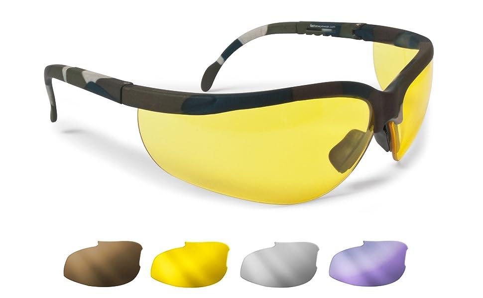 Bertoni Ballistische Schutzbrille Schießbrille 4 Wechselgläser Beschlagungsfrei Bruchsicher UV Schutz Linsen AF159A Military Camouflage