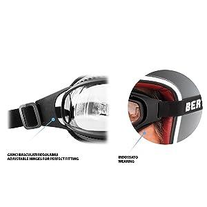 Bertoni Af113 Winddichte Motorradbrille Schutzbrille With Outriggers Antibeschlag Uv Schutz Verstellbar Elastische Für Motorradhelm Transparent Linse Photochrome Linse Auto