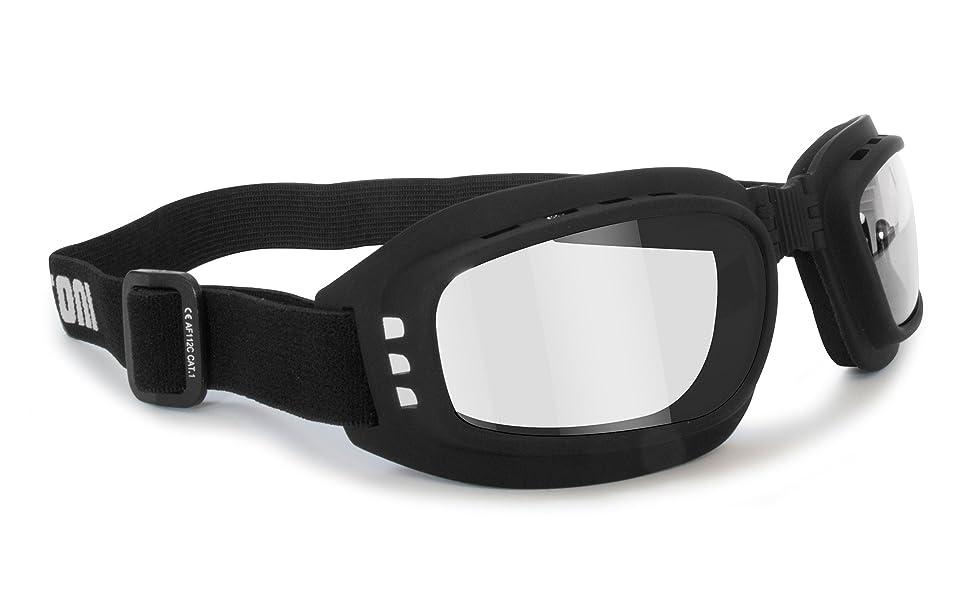 Bertoni Motorradbrille Photochrome Antibeschlag F112a Schwarz Schutzbrille Selbsttönend Bikerbrillen Automatische Scheibentönung Auto