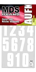 5cm Zahlen 1-10 5-Pack Selbstklebend Silber Klebezahlen