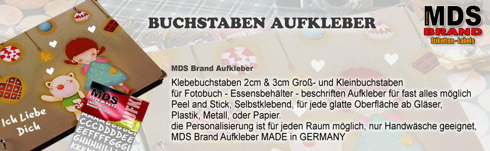 MDS Brand 2cm Schreibschrift Buchstaben Gro/ß /& Kleinbuchstaben Aufkleber Gold