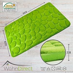WohnDirect - Alfombrilla de baño suave, lavable, de secado rápido