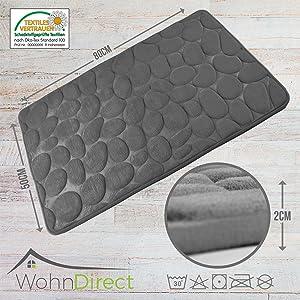 WohnDirect - Alfombrilla de baño suave y lavable