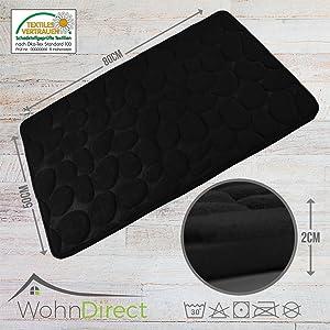 WohnDirect - Alfombrilla de baño, suave, lavable, de secado rápido