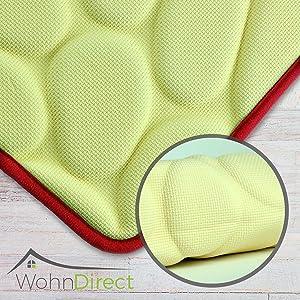 WohnDirect - Alfombrilla de baño suave, esponjosa, lavable, de secado rápido, antideslizante