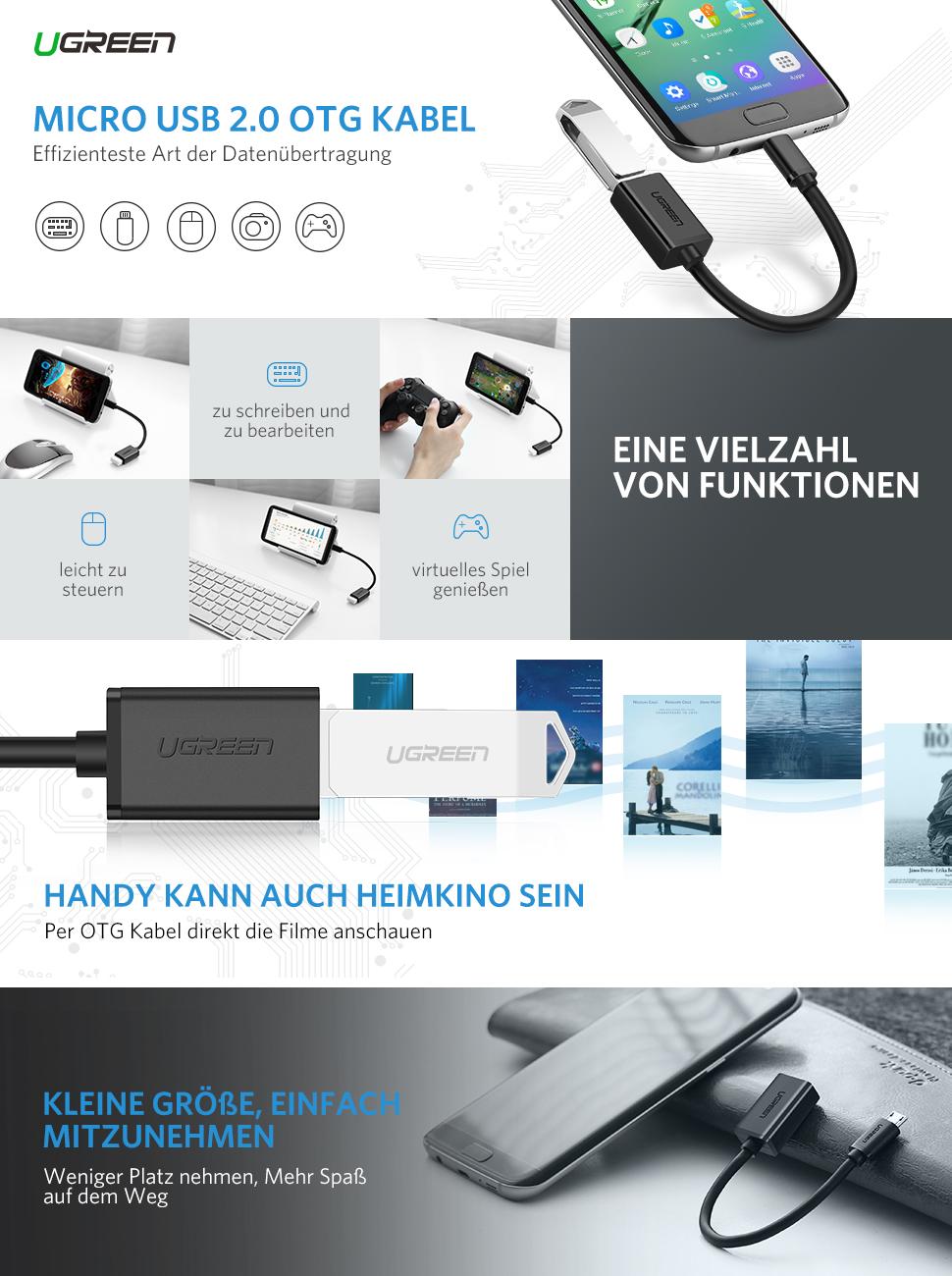 Ugreen Otg Kabel Usb 20 Auf Micro Adapter 0 Verwandelt Ihr Tablet Oder Smartphone Als Einen Host Und Ermglicht Ihnendas Gerte