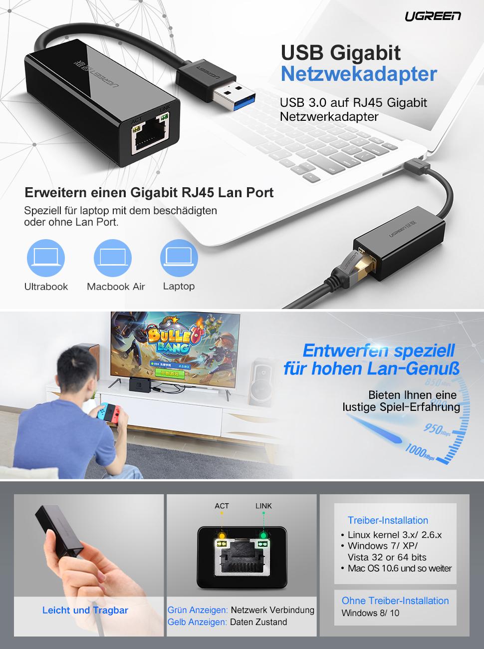 UGREEN 20256,USB Netzwerk Adapter, USB 3.0, 10: Amazon.de ...