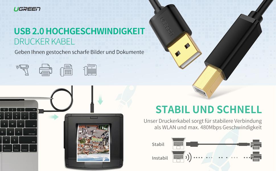 ugreen druckerkabel 3m scannerkabel usb b kabel usb a computer zubeh r. Black Bedroom Furniture Sets. Home Design Ideas