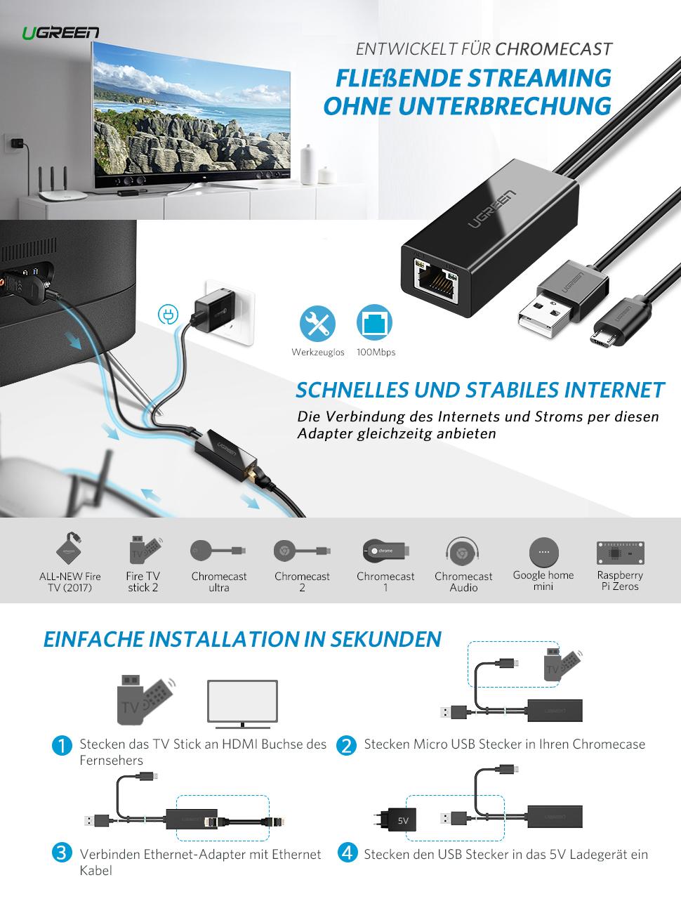 UGREEN Ethernet Adapter für Chromecast und TV: Amazon.de: Computer ...