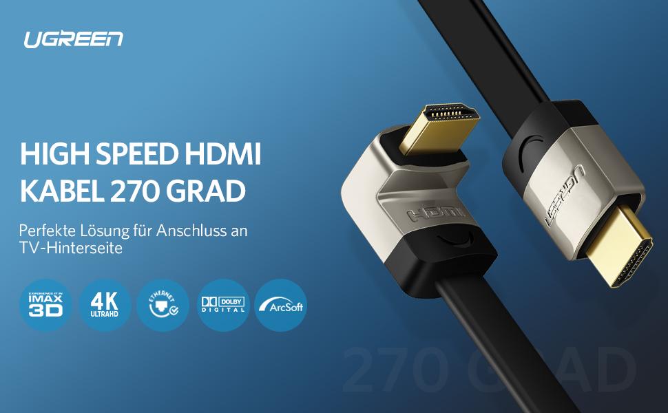 HDMI Kabel High Speed 270 Grad Winkelstecker Ethernet 1080p Full HD Ultra HD 4K