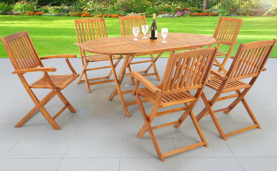 Amazon.de: Deuba® Sitzgruppe Boston 6+1 | 6 klappbaren Stühlen ...