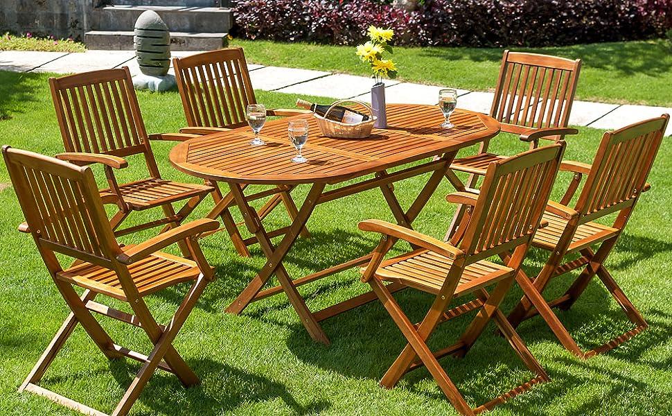 Deuba® Sitzgruppe Boston 6+1   FSC®-zertifiziertes Akazienholz 7-TLG Tisch  klappbar   Sitzgarnitur Holz Gartenmöbel Set