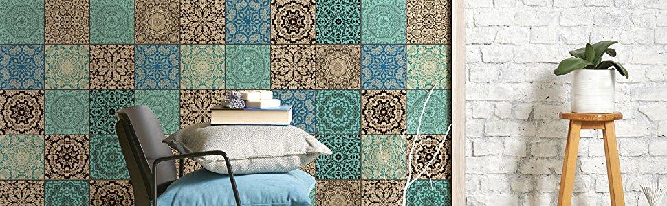 Klebefliesen Mosaikfolien für Wandfliesen - tolle Motiven 10x10 cm 15x15cm 20x20cm 15x20 cm 20x25cm