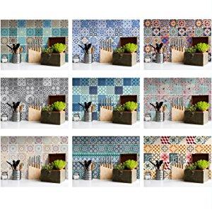 autocollants stickers de carrelage pour la cuisine et la salle de bains 10x10 cm, 15x15 cm, 20x20 cm