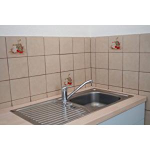 des carreaux anciens dans la cuisine et la salle de bains au lieu de la peinture au carrelage