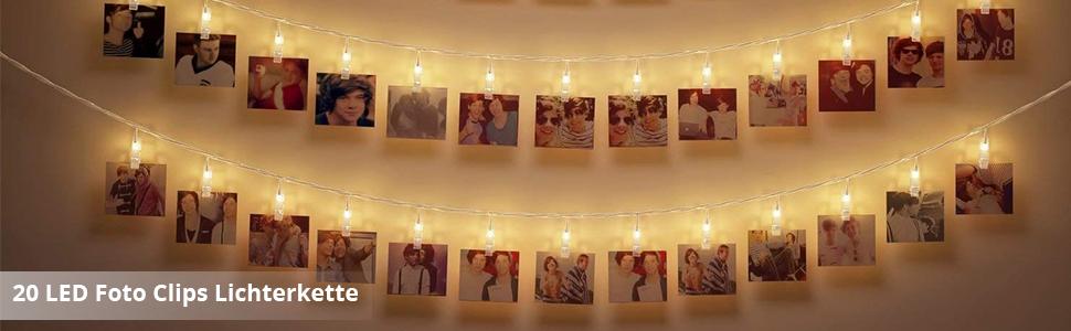Four Heart LED Foto Clip Lichterkette + Fernbedienung U0026 Timer , 40 Foto Clips,  ...