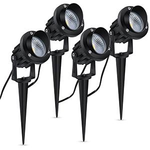 4X 5W LED Gartenstrahler Ausse Gartenbeleuchtung Schwenkbar Garten mit Erdspieß