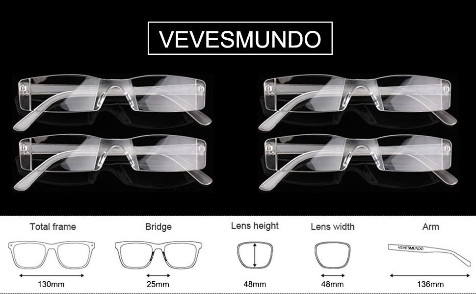 VEVESMUNDO Lesebrille Herren Damen Sehhilfe Transparente Gläser ...