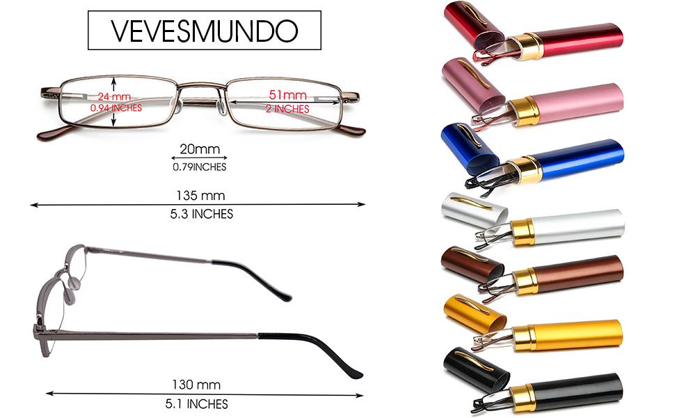 VEVESMUNDO Lesebrille Metall Klassische Scharnier Schmal Stil Brille Lesehilfe Augenoptik Vollrandbrille Mit Etui (Rot, 1.5)