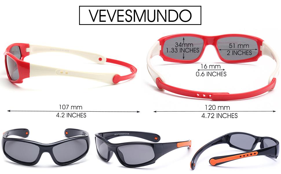 VEVESMUNDO Sonnenbrille Kinder Jungen Mädchen UV 400 schutz Polarisiert Flexibel Sport Einstellbar Kindersonnenbrillen Brille Ohne sehstärke für 3-12 Jahre (Rot und weiß) f2JC2