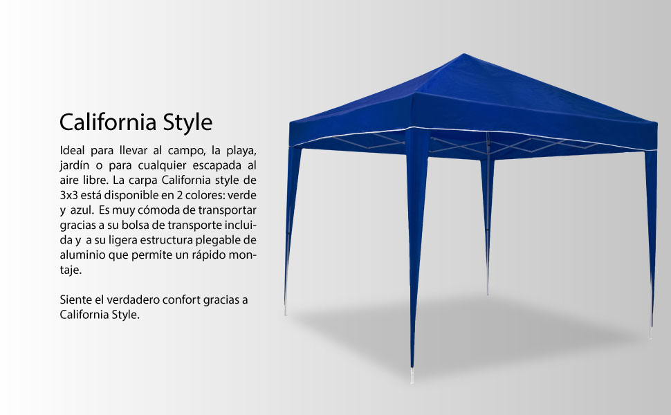 SmartSun Carpa California Style Azul 3x3: Amazon.es: Jardín