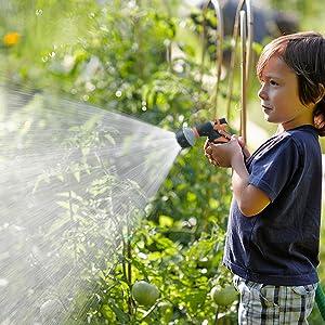 2 Pack Pistola de riego, Pistola de agua de jardín con 8 modos de ajustable pulverización - Rociador de mano de alta presión para regar el césped, lavado de autos, baño de