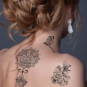 WLZP Tatuajes temporales pour Adultos de la Moda Etiquetas Engomadas del Arte Corporal, Tatuajes Falsos a Prueba de Agua, Tatuajes de Temporales Negros Set de 8 Hojas, Regalo -Tatuaje de Halloween: Amazon.es: