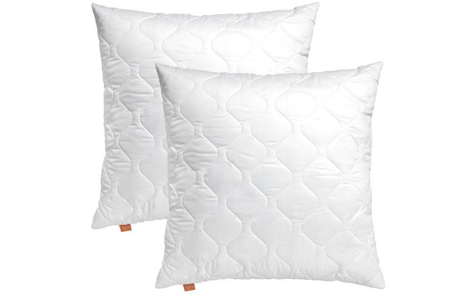 sleepling 191117 Conjunto de 2 Almohadas Cojines de Microfibra 80 x 80 cm, Blanco