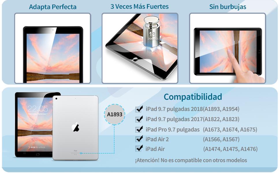 ESR Protector Pantalla para iPad 2018 [Instalación Fácil] Cristal Vidrio Templado para iPad 2018/2017/iPad Air 2/iPad Air/iPad Pro 9.7/iPad 6ª/5ª ...