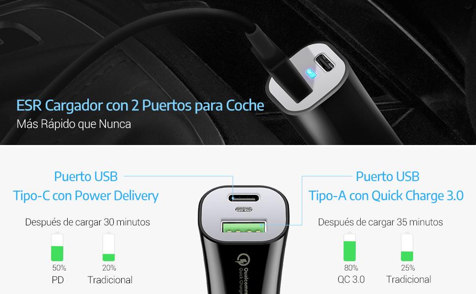 ESR Cargador Coche USB C Power Delivery 45W Cargador de Coche con 2 puertos USB, USB C para iPhone XS/XR/XS MAX/X/8/8 Plus, iPad Pro, Google Pixel ...