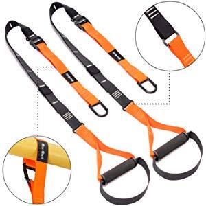 Asamoom Cross Fit para Entrenamiento En Suspensión con Anclaje para Puertas (Orange)