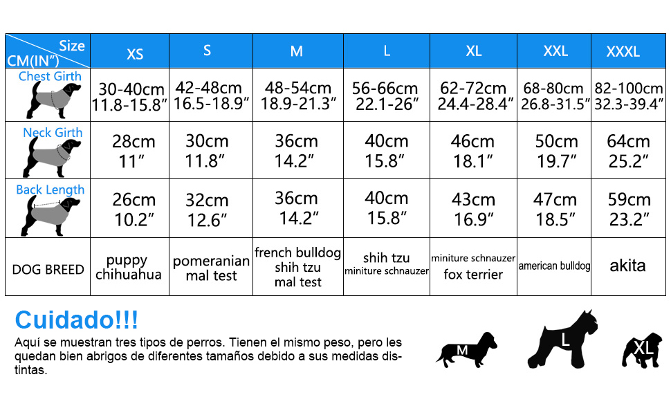 No es preicso calcular el tamaño por peso solamente. Tendrá en cuenta el peso y la medida al mismo tiempo.