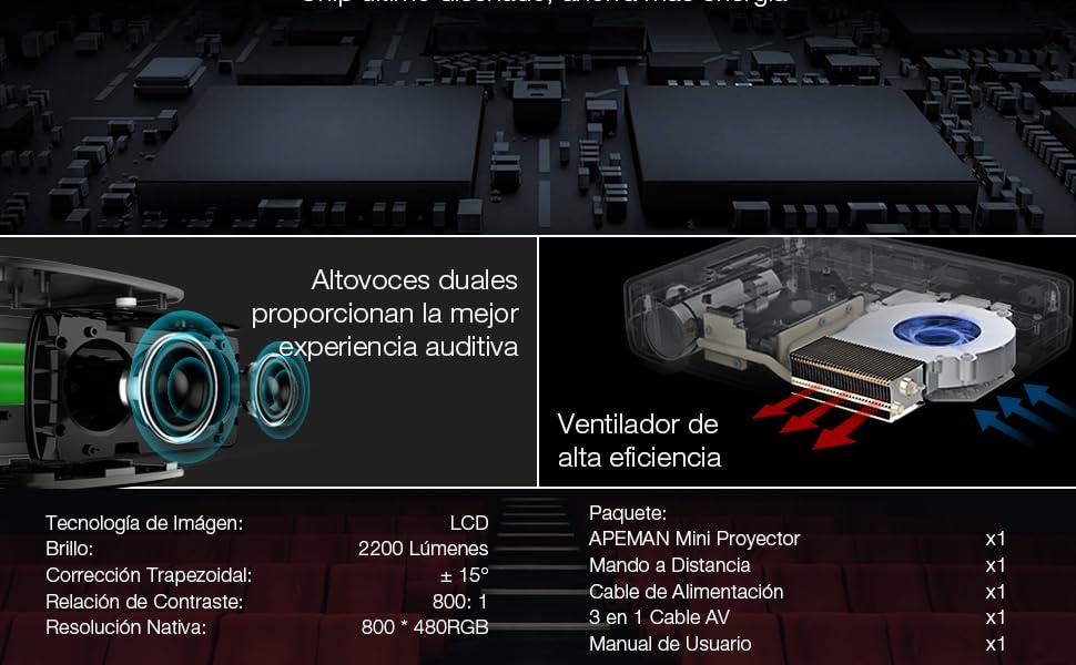 APEMAN Proyector, Multimedia Vídeo Proyector LCD, con 1200 Lúmenes 1080P HD Video e IR USB SD HDMI Entrada (Negro)