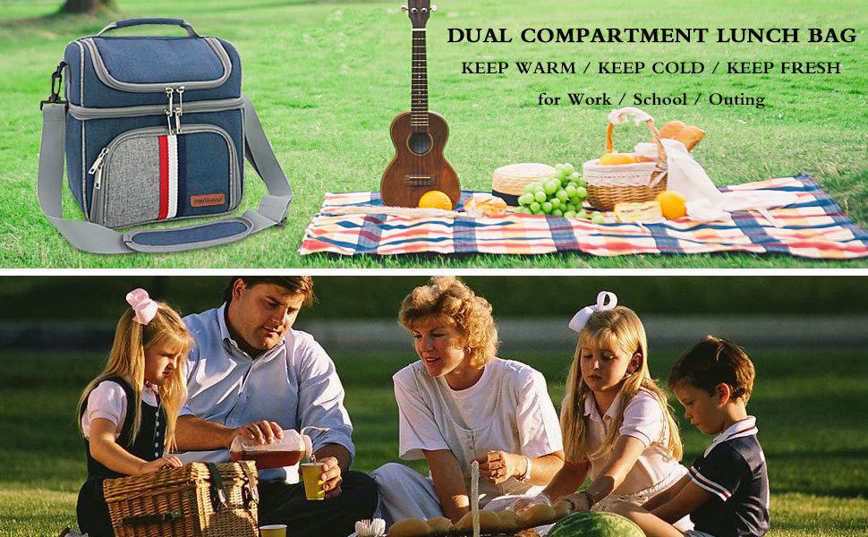 CtopoGo Bolsa Porta Alimentos Impermeable Camping Bolsa Porta Alimentos Bolsa de Almuerzo con Doble Compartimentos Aislamiento Bolso para Hombres,Mujere,Beb/é Playa Ni/ños para Picnic Familiar