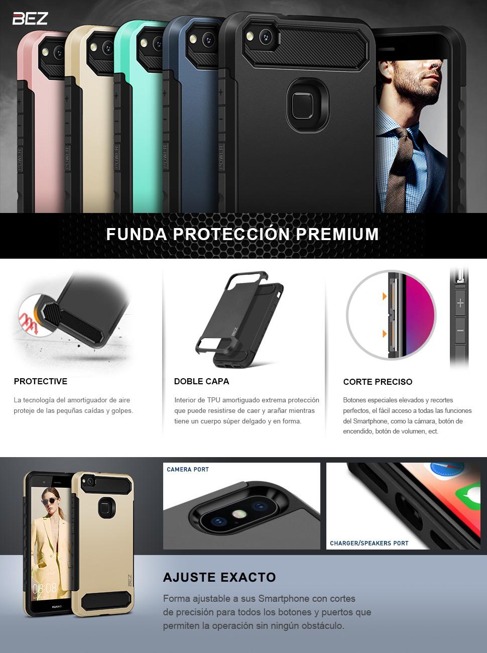 BEZ Funda Huawei P10 Lite, Carcasa Compatible para Huawei P10 Lite ...