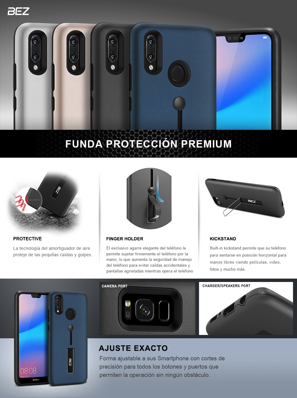 BEZ Huawei P20 Lite Case Finger Strap Ring Holder Cover Shock-Absorption Bumper and Anti-Scratch with Stand Function.