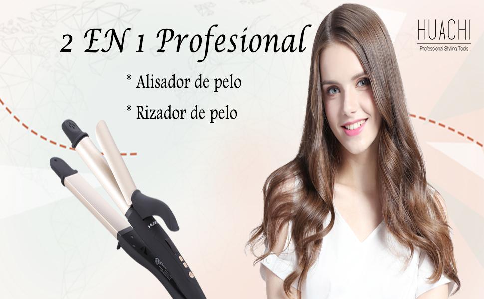 Huachi Rizador de Pelo de Viaje 32mm Profesional con la Función 2 en 1 para Alisar y Rizar el pelo, Planchas del Pelo Cerámica Turmalina 220℃, ...