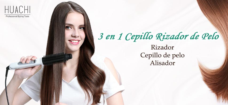3 EN 1 CEPILLOS DE AIRE CALIENTE. AlIsador + Rizador ...