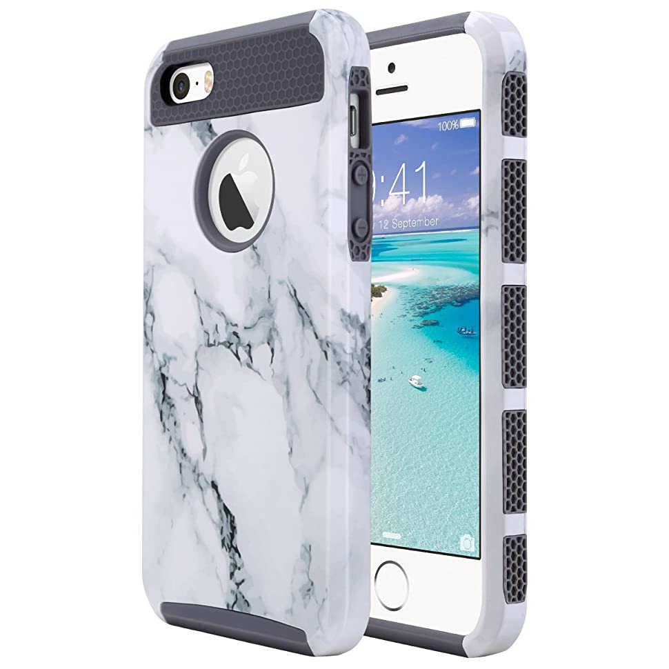 ULAK Caso del iPhone 5S, iPhone SE Funda iPhone 5 Carcasa Cubierta Protectora Dura híbrida Apta del Caso de PC + TPU del Ajuste para el iPhone 5 / 5S ...