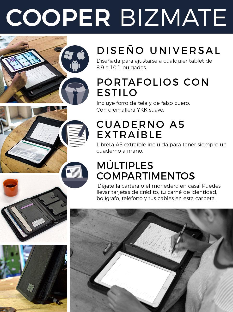 """Funda-Carpeta Tablet de 7-8"""", Cooper BIZMATE Portafolios Protector Cremallera Viaje, libreta y portalápices, 8,5 x 5,5 (Negro)"""