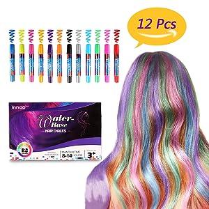 Innoo Tech Mechas de Colores, Maquillaje Infantil, mechas Pelo niña, 12 Colores, Regalos para niñas, Adecuado Cabello, Adecuado para Navidad