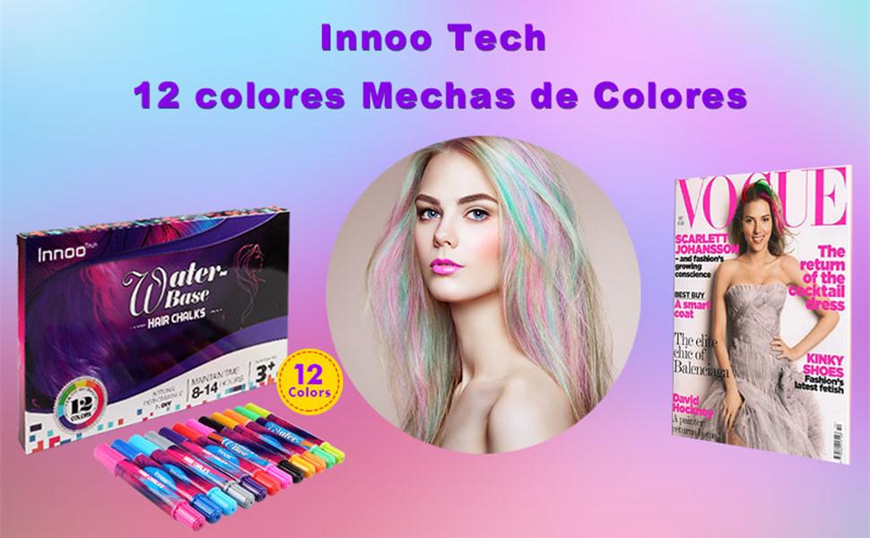0fbf912e8f Innoo Tech Mechas de Colores, Maquillaje Infantil, mechas Pelo niña ...