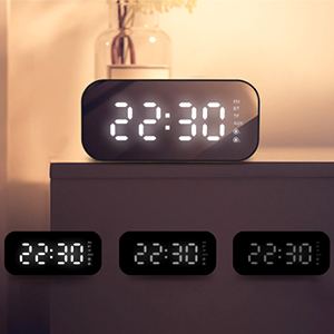 HAVIT Reloj Despertador Digital Altavoz Bluetooth,5.6 Temperatura de Temperatura LED, Alarma Doble, 3 Brillo Puede ser Ajustado, Micrófono ...