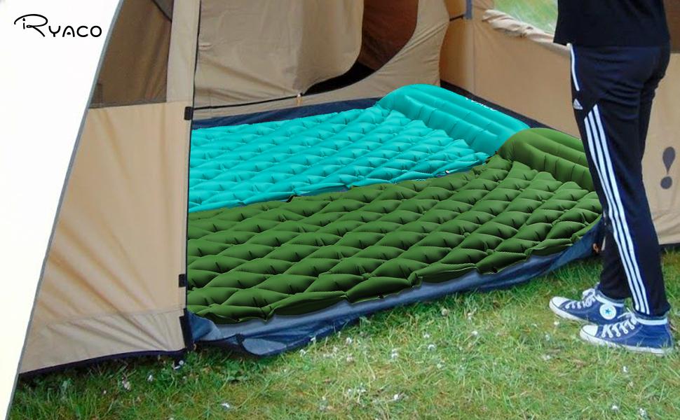Ryaco Esterillas Inflables, Portátil Ultraligero Esterilla Acampada Camping, Colchon Acampada, Colchones de Aire con Almohada Impermeable, Resistente ...