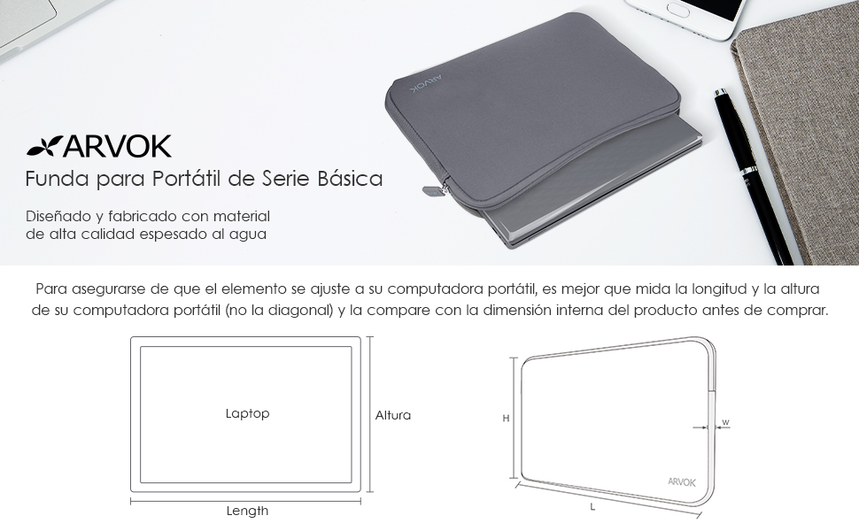 Arvok 15,6 Pulgadas Funda Protectora para Portátiles/Impermeable Ordenador Portátil Caso/Neopreno del Portátil Bolsa para ...