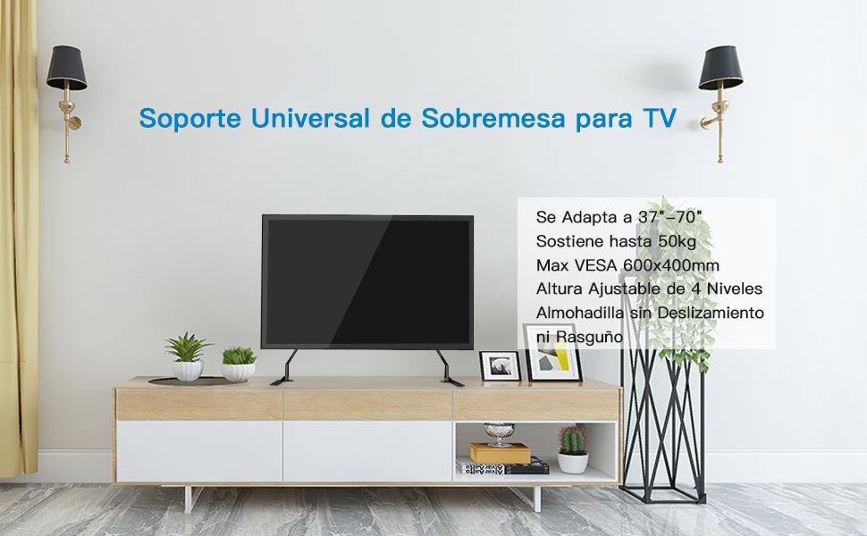 Soporte de TV Universal de Sobremesa para Pantallas Planas de 37 a 70 Pulgadas, Televisores LCD Soporte con Pie de Altura Ajustable Sostiene hasta 50 kg, VESA hasta 600x400mm: Amazon.es: Electrónica